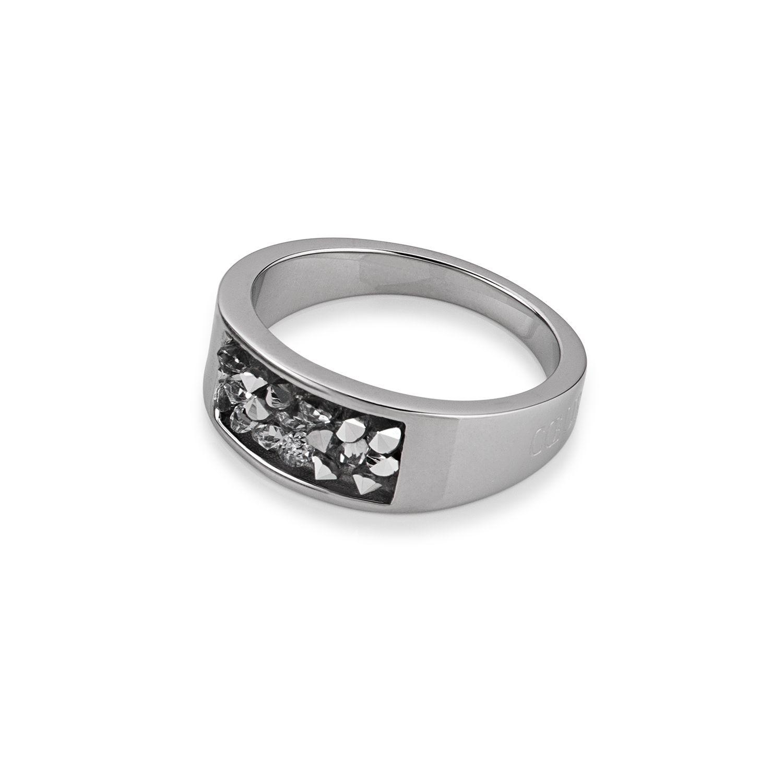 Ring Edelstahl & Swarovski Kristalle silber